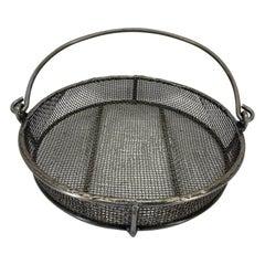 Industrial Handcrafted Steel Hanging Basket, American 20th Century