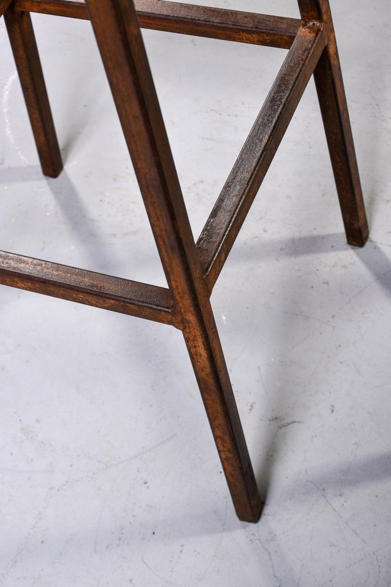 Mid Century Industrial Iron Bar Height Stool For Sale 5