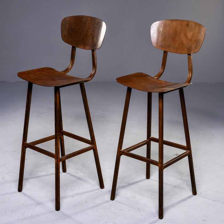 British Mid Century Industrial Iron Bar Height Stool For Sale