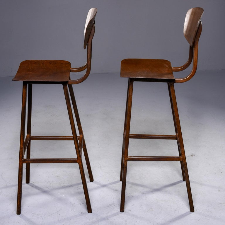 20th Century Mid Century Industrial Iron Bar Height Stool For Sale