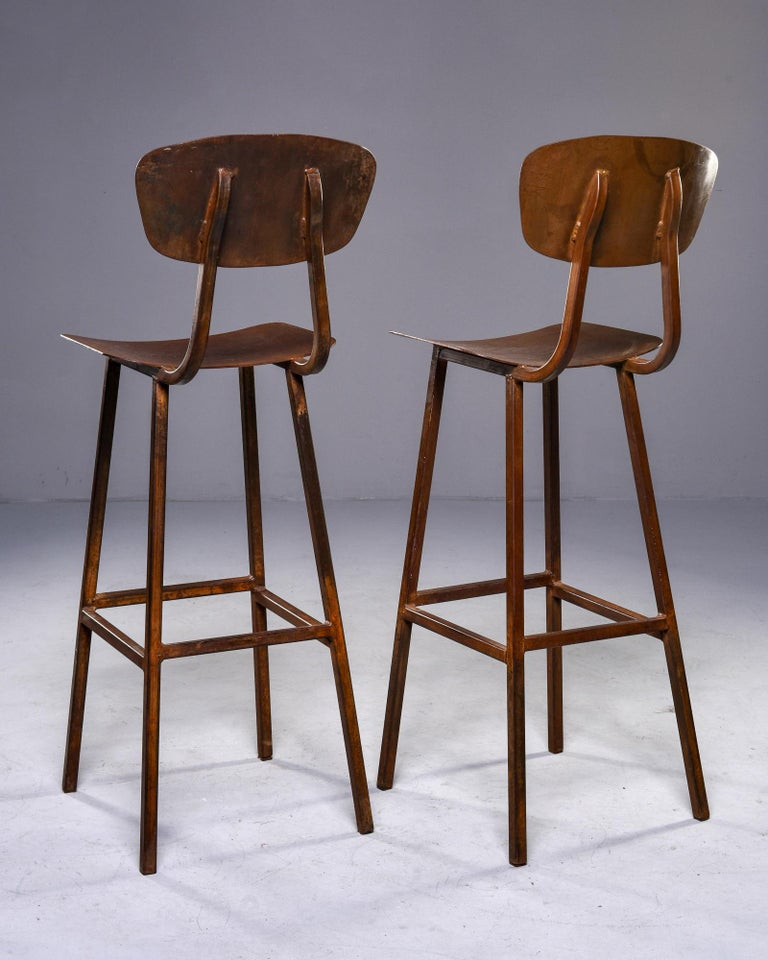 Mid Century Industrial Iron Bar Height Stool For Sale 1