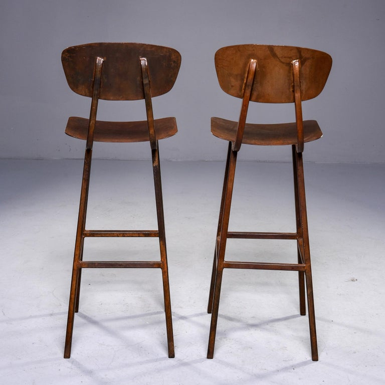 Mid Century Industrial Iron Bar Height Stool For Sale 2