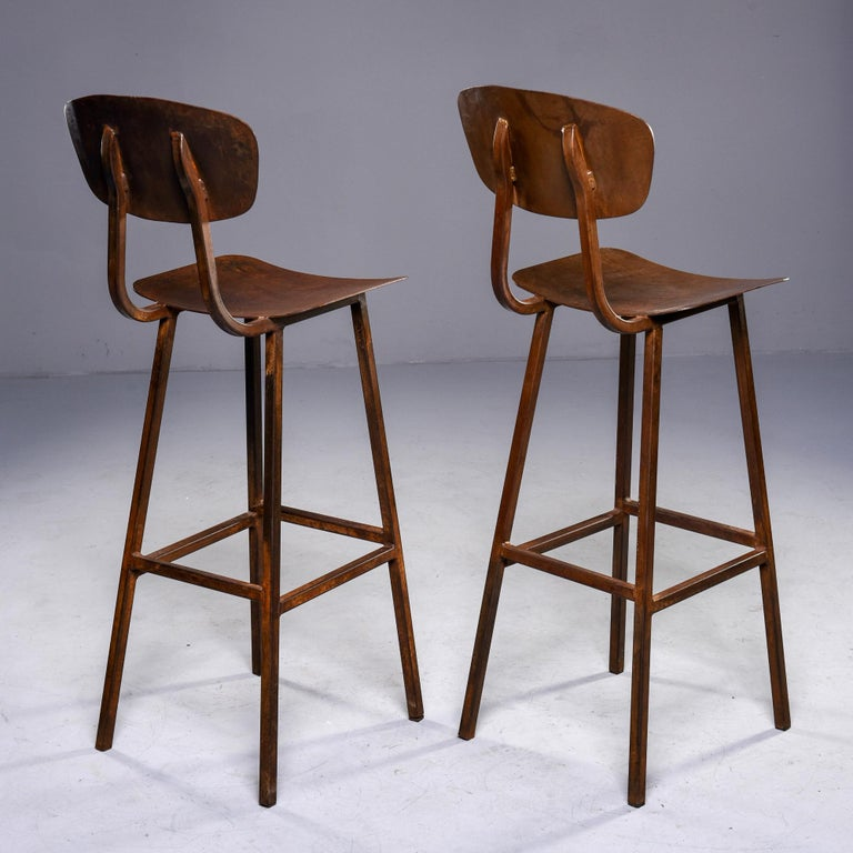 Mid Century Industrial Iron Bar Height Stool For Sale 3