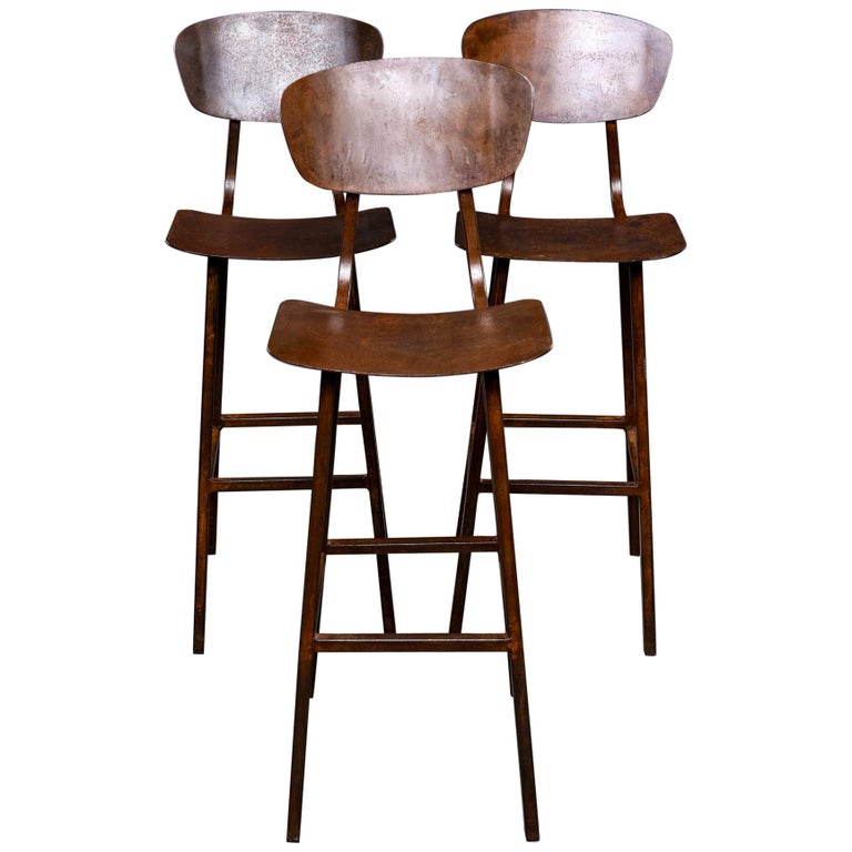 Mid Century Industrial Iron Bar Height Stool For Sale