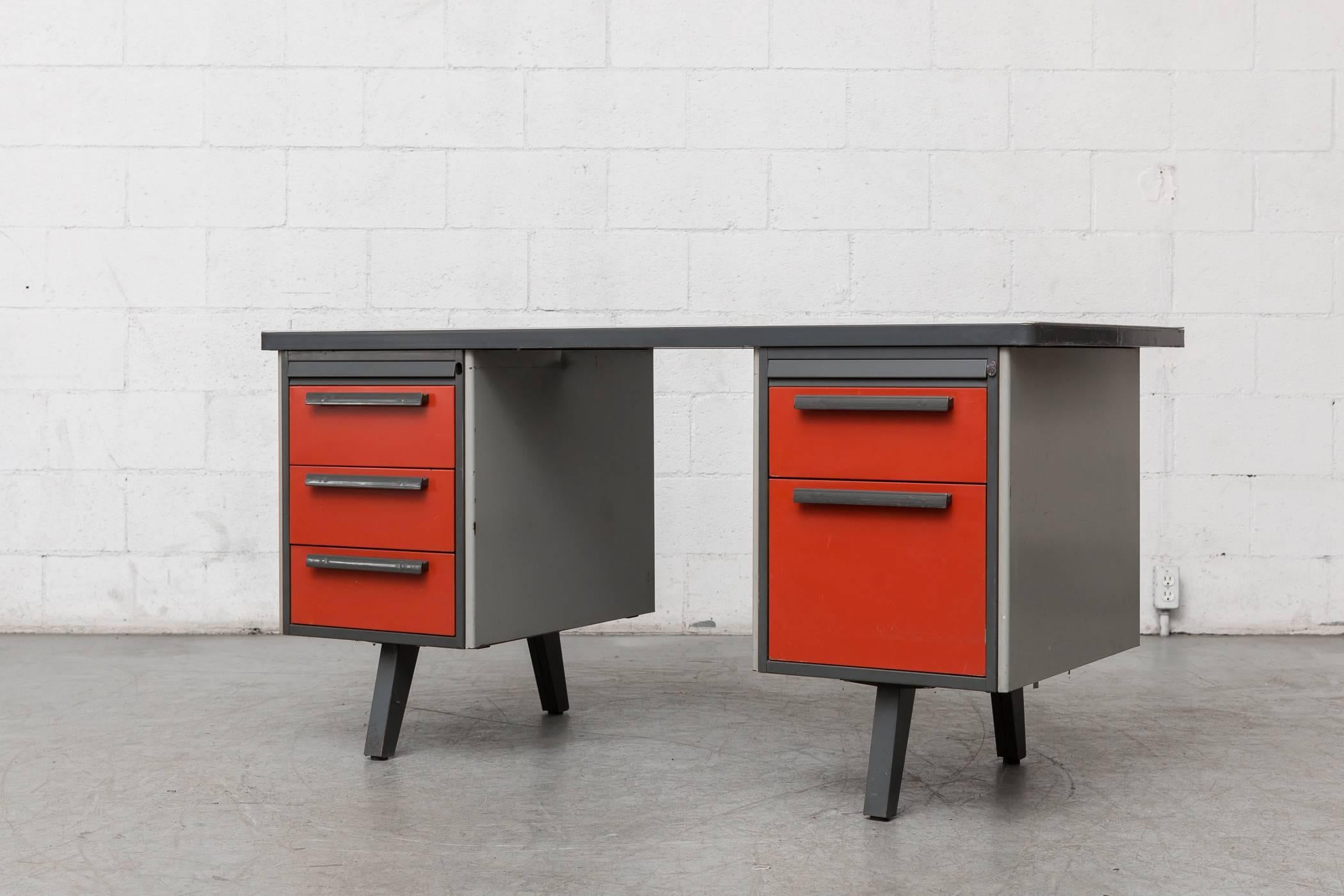 Midcentury Metal Desk With Red Drawers By Strafor For At 1stdibs
