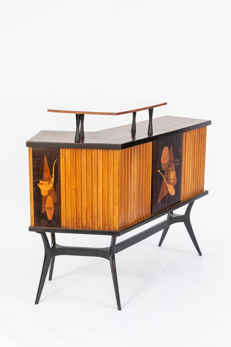 Mid-Century Inlaid Bar For Sale 3