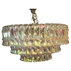 Mid Century Iridescent Chandelier, Multi Color Venini Style Chandelier