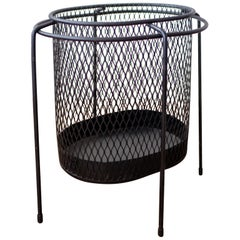Midcentury Iron and Expanded Metal Waste Basket