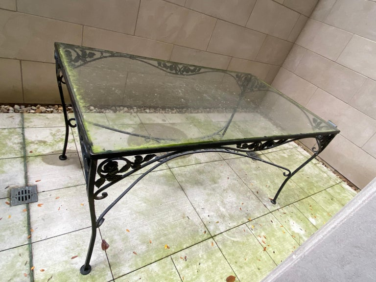 Midcentury Iron and Glass Outdoor Dining Table and 4 Chairs For Sale 3