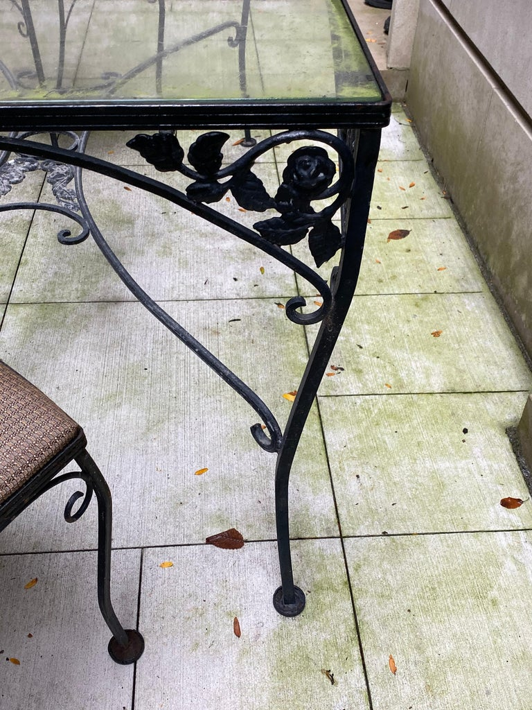 Mid-Century Modern Midcentury Iron and Glass Outdoor Dining Table and 4 Chairs For Sale