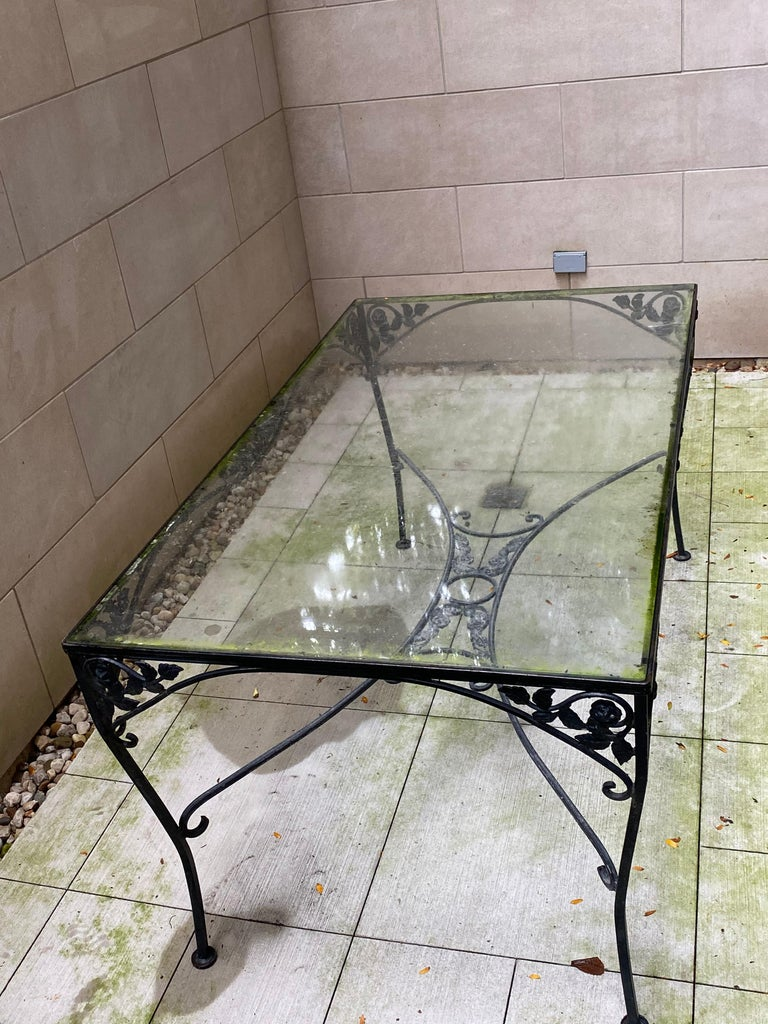 American Midcentury Iron and Glass Outdoor Dining Table and 4 Chairs For Sale