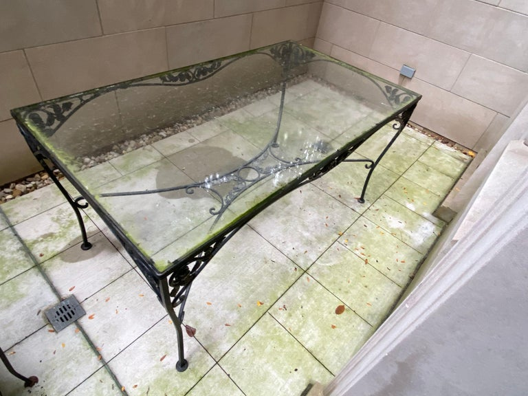 Cast Midcentury Iron and Glass Outdoor Dining Table and 4 Chairs For Sale