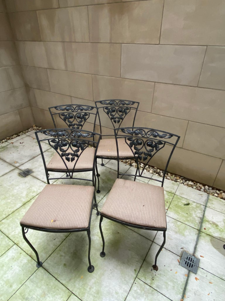 20th Century Midcentury Iron and Glass Outdoor Dining Table and 4 Chairs For Sale