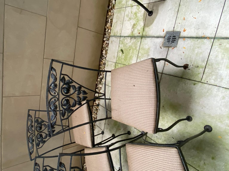 Midcentury Iron and Glass Outdoor Dining Table and 4 Chairs For Sale 1