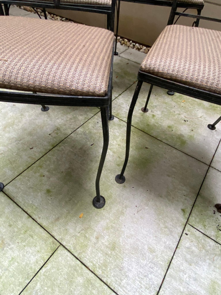 Midcentury Iron and Glass Outdoor Dining Table and 4 Chairs For Sale 2