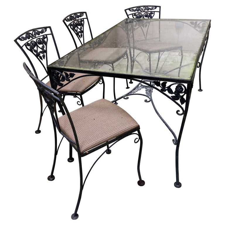Midcentury Iron and Glass Outdoor Dining Table and 4 Chairs For Sale