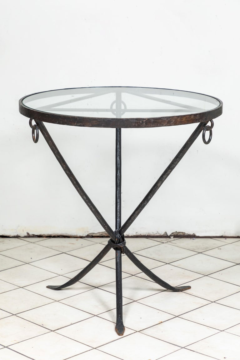 Midcentury Iron and Glass Round Table For Sale 1