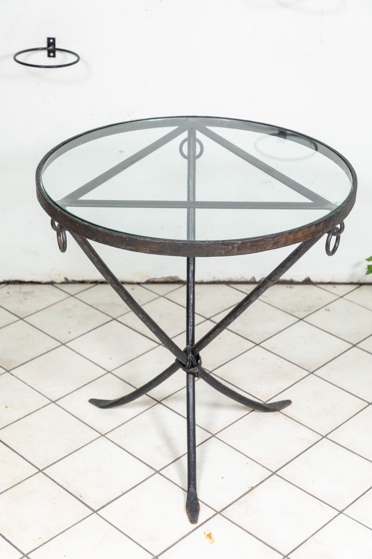 Midcentury Iron and Glass Round Table For Sale 2