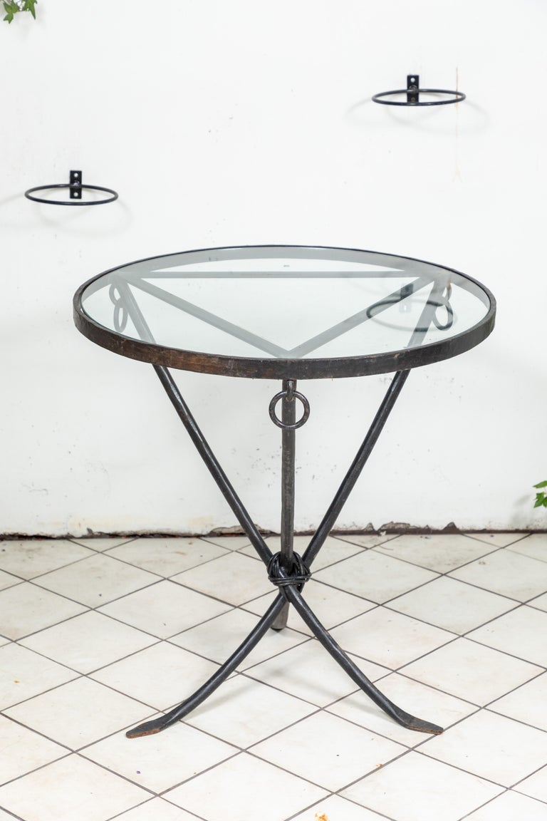 Midcentury Iron and Glass Round Table For Sale 4