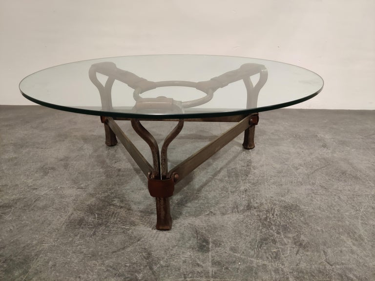 Midcentury Iron and Leather Coffee Table by Jacques Adnet, 1960s For Sale 3