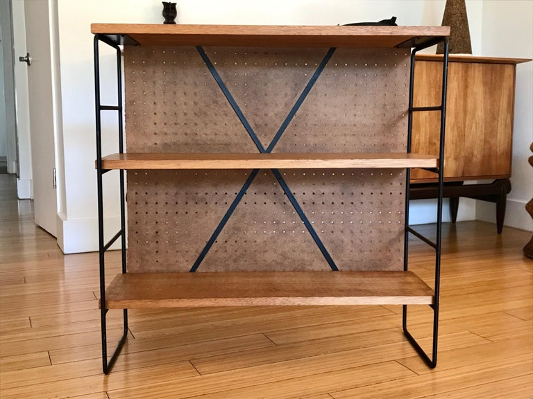 Midcentury Iron and Wood Shelf System For Sale 4