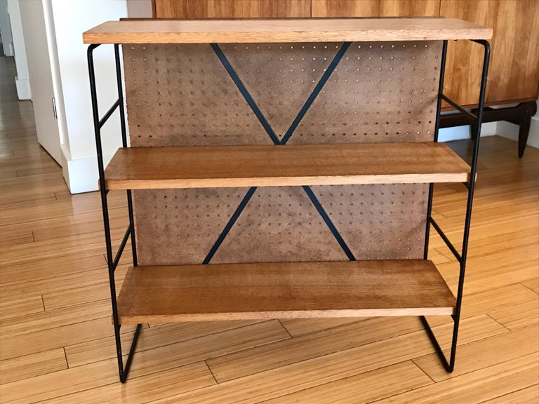 Midcentury Iron and Wood Shelf System For Sale 5