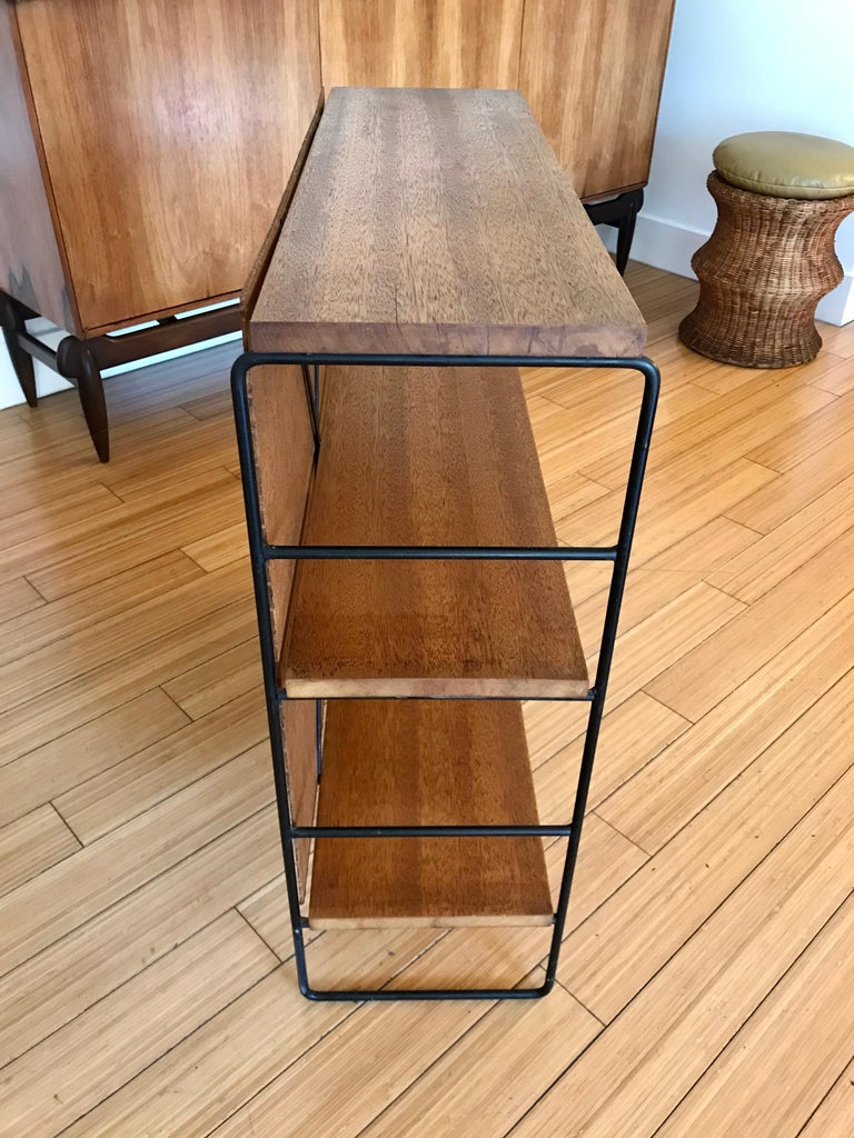 American Midcentury Iron and Wood Shelf System For Sale