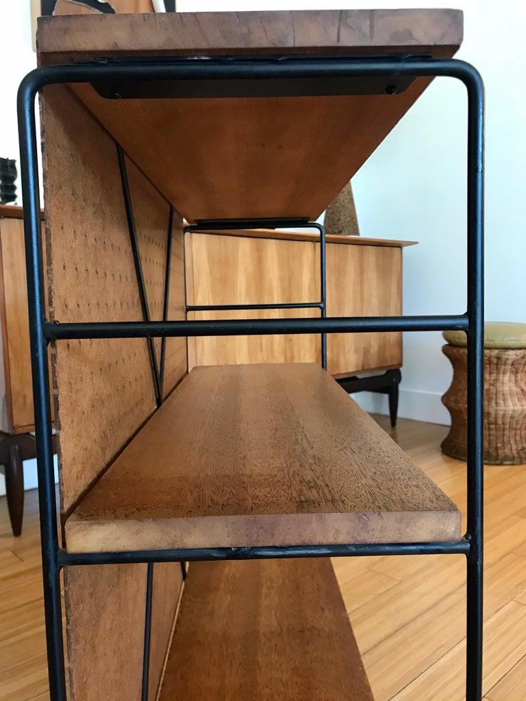 Midcentury Iron and Wood Shelf System In Good Condition For Sale In Los Angeles, CA