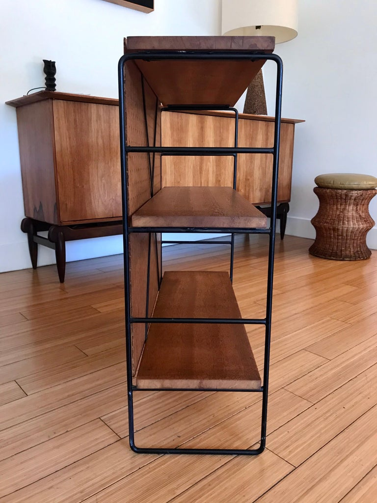 20th Century Midcentury Iron and Wood Shelf System For Sale