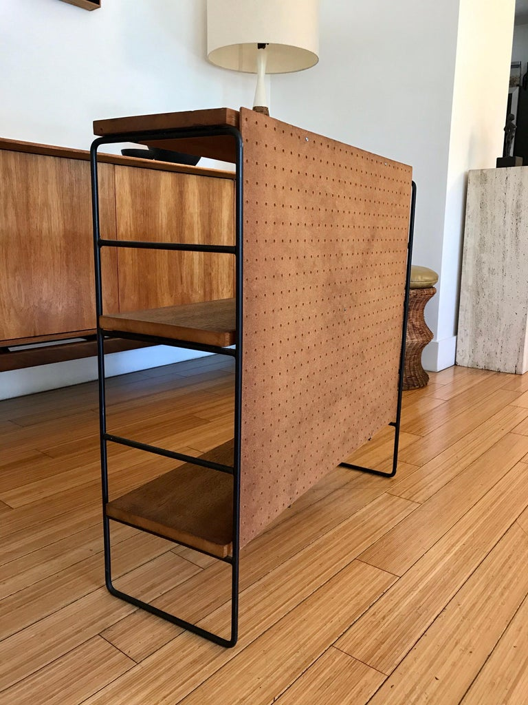 Midcentury Iron and Wood Shelf System For Sale 1