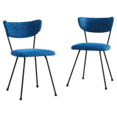 Midcentury Iron Chairs with Blue Upholstery, Pair