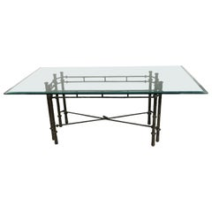 Midcentury Iron Dining Table with Glass Top