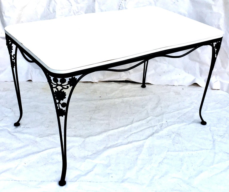 Mid-Century Modern Mid-Century Iron Floral & Vine Dining Table By, Woodard For Sale