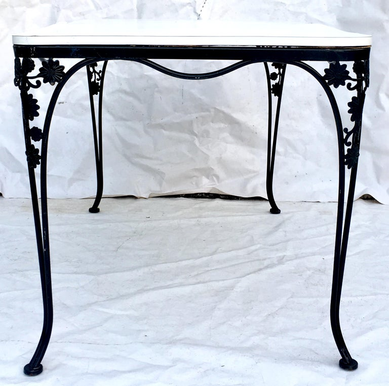 American Mid-Century Iron Floral & Vine Dining Table By, Woodard For Sale