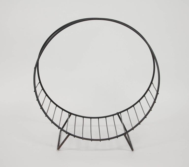 Midcentury Iron Magazine Holder In Good Condition For Sale In San Francisco, CA