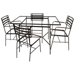 Midcentury Iron Outdoor Table and Chair Set