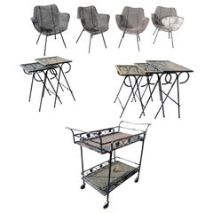 Midcentury Iron Patio Set with Four Russel Woodard Sculptura Chairs