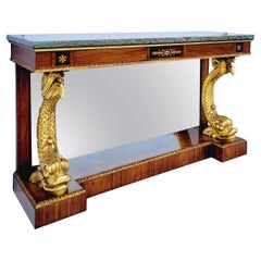 Mid-Century Itaian Neo-Classical Style Giltwood And Marble Top Console Table