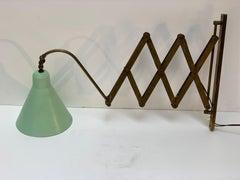 Mid Century italian Adjustable and Extensible Brass Wall Light