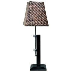 Midcentury Italian Adjustable Lamp with Original Woven Leather Shade