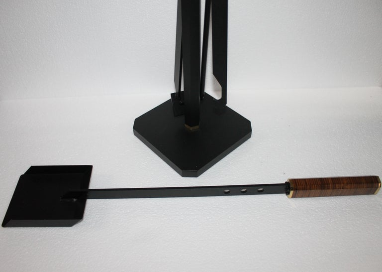 Midcentury Italian Afra & Tobia Scarpa Fireplace Tools Set for Dimensione Fuoco For Sale 7