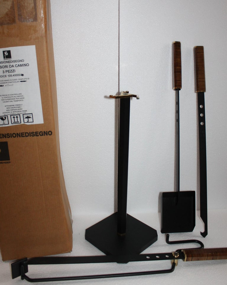 Late 20th Century Midcentury Italian Afra & Tobia Scarpa Fireplace Tools Set for Dimensione Fuoco For Sale