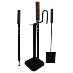 Midcentury Italian Afra & Tobia Scarpa Fireplace Tools Set for Dimensione Fuoco