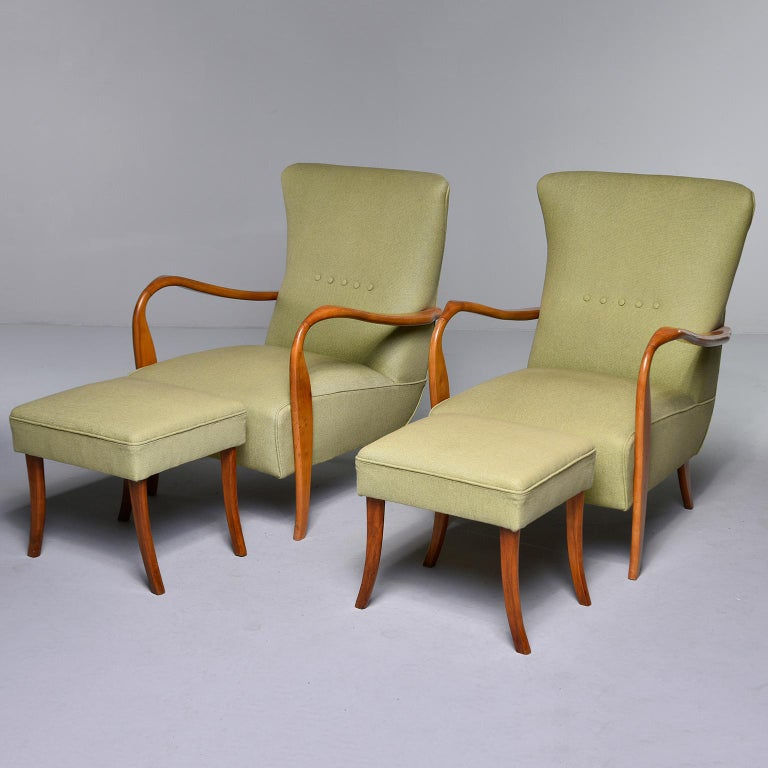 Midcentury Italian Armchair and Stool with New Upholstery For Sale 8