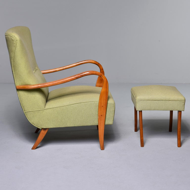 Mid-Century Modern Midcentury Italian Armchair and Stool with New Upholstery For Sale