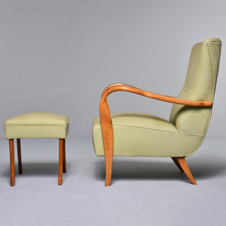 Midcentury Italian Armchair and Stool with New Upholstery In Good Condition For Sale In Troy, MI