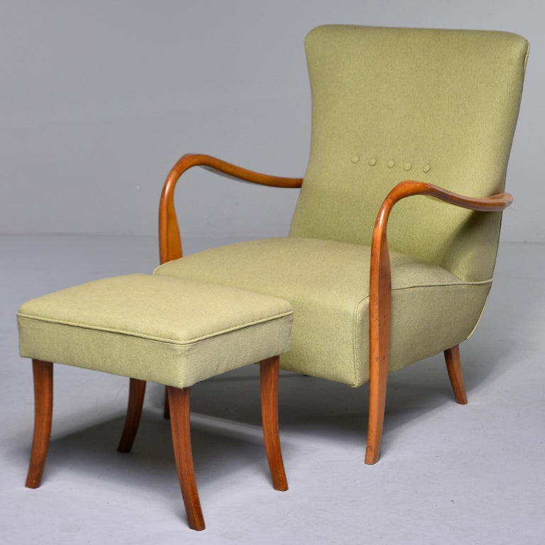 20th Century Midcentury Italian Armchair and Stool with New Upholstery For Sale