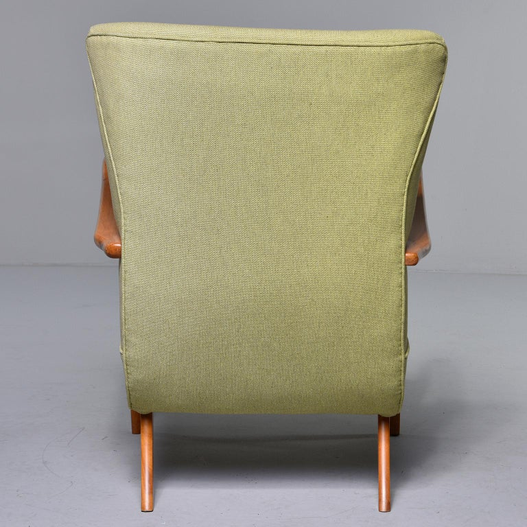 Midcentury Italian Armchair and Stool with New Upholstery For Sale 1