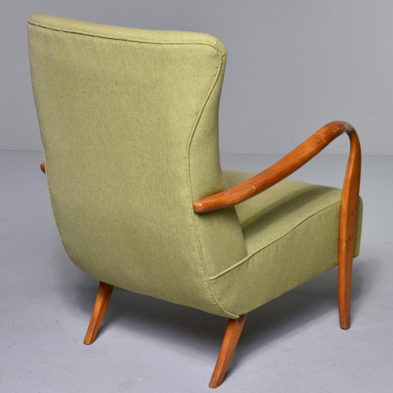 Midcentury Italian Armchair and Stool with New Upholstery For Sale 2