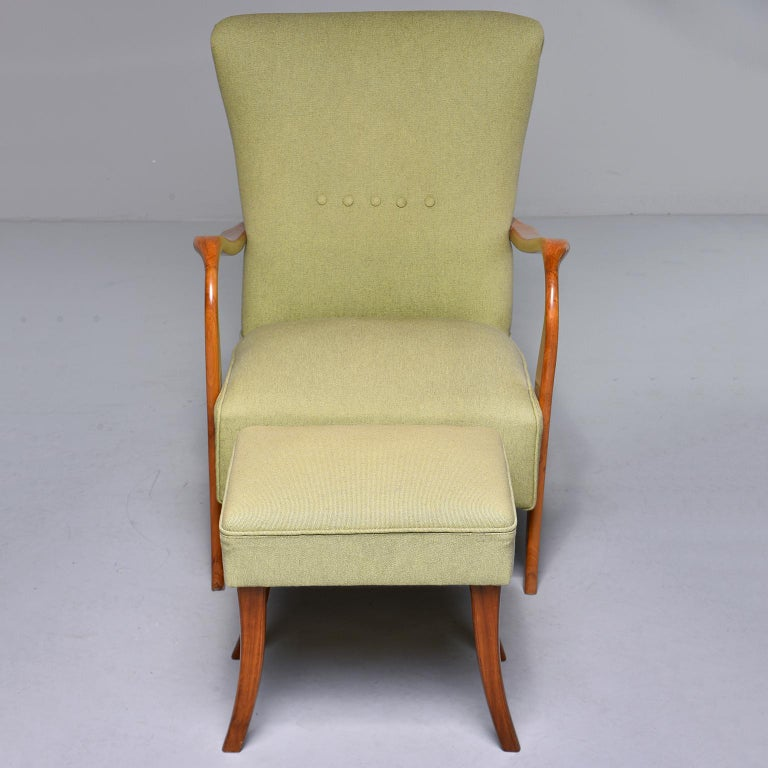 Midcentury Italian Armchair and Stool with New Upholstery For Sale 3